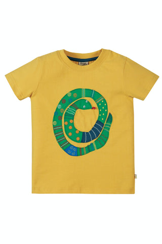 Frugi Avery Applique Top - Bumble Bee/Snake