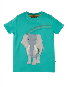Frugi Carsen Applique T-shirt - Pacific Aqua/ Elephant