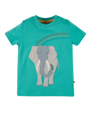 Image of Frugi Carsen Applique T-shirt - Pacific Aqua/ Elephant