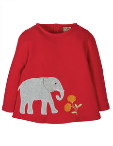 Frugi Connie Applique Top - True Red/Elephant