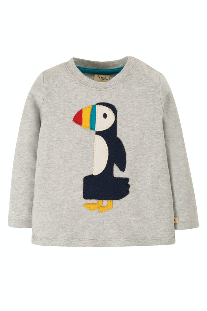 Frugi Magic Number T-Shirt - Grey Marl/Puffin
