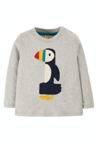 Image of Frugi Magic Number T-Shirt - Grey Marl/Puffin