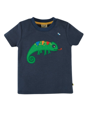 Image of Frugi Scout Applique Top - Indigo/Chameleon