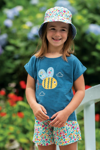 Frugi Sophia Slub T-Shirt - India Ink/Bee
