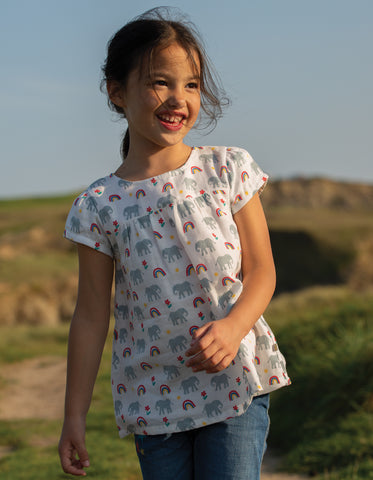 Image of Frugi Meg Muslin Top -  Elephants