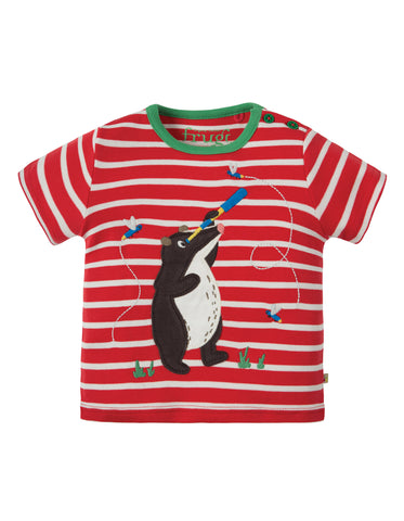 Image of Frugi Atlantic Applique T-shirt - Tomato Breton / Badger - Tilly & Jasper