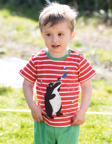 Image of Frugi Atlantic Applique T-shirt - Tomato Breton / Badger
