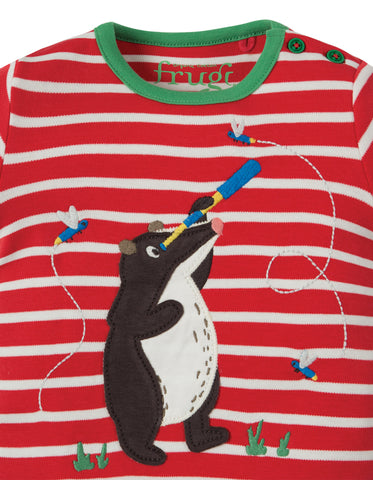 Frugi Atlantic Applique T-shirt - Tomato Breton / Badger - Tilly & Jasper
