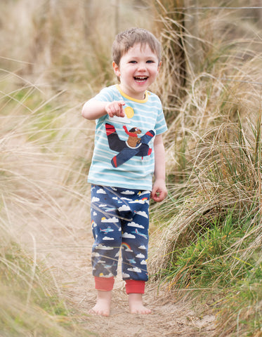 Image of Frugi Atlantic Applique T-shirt - Tidal Blue Breton/Plane - Tilly & Jasper