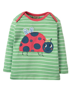 Frugi Bobby Applique Top - Soft Green Breton / Ladybird