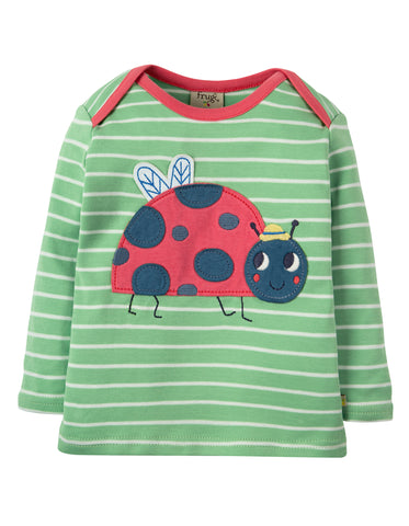 Image of Frugi Bobby Applique Top - Soft Green Breton / Ladybird