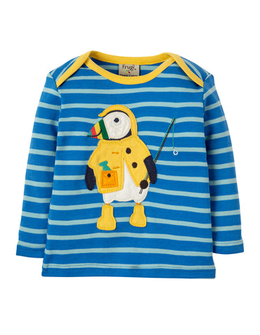 Frugi Bobby Applique Top - Sail Blue Multi Breton/Puffin