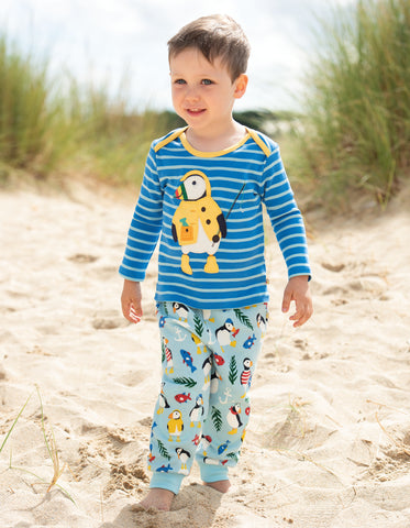 Image of Frugi Bobby Applique Top - Sail Blue Multi Breton/Puffin - Tilly & Jasper