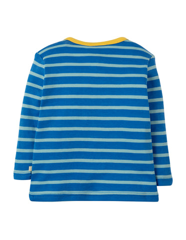 Frugi Bobby Applique Top - Sail Blue Multi Breton/Puffin - Tilly & Jasper