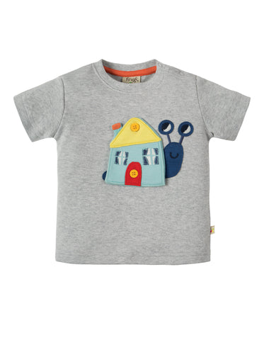 Image of Frugi Button Off Applique Top - Grey Marl / Snail - Tilly & Jasper