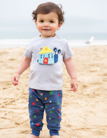 Frugi Button Off Applique Top - Grey Marl / Snail