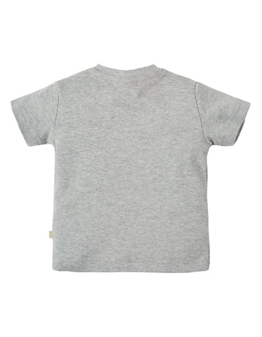 Image of Frugi Button Off Applique Top - Grey Marl / Snail