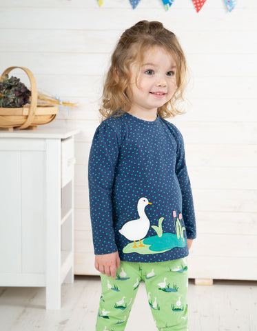 Image of Frugi Connie Applique Top - Marine Blue Scatter Spot/Duck - Tilly & Jasper