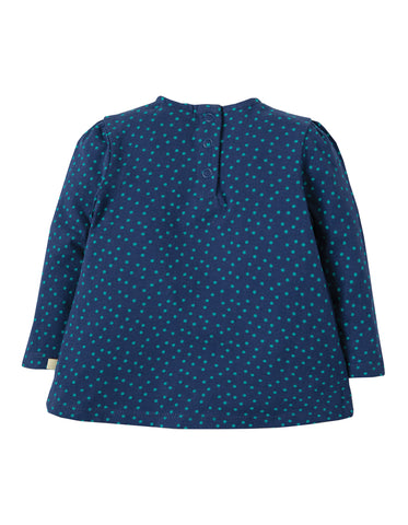 Frugi Connie Applique Top - Marine Blue Scatter Spot/Duck - Tilly & Jasper