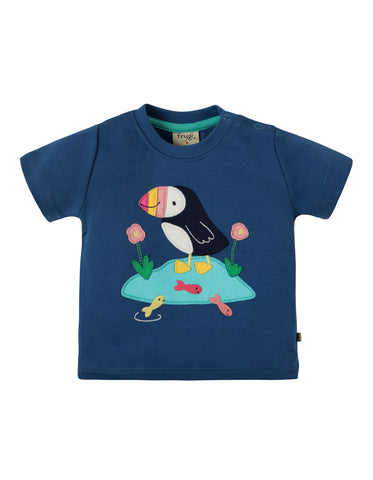 Image of Frugi Little Creature Applique T-shirt - Marine Blue/Puffin