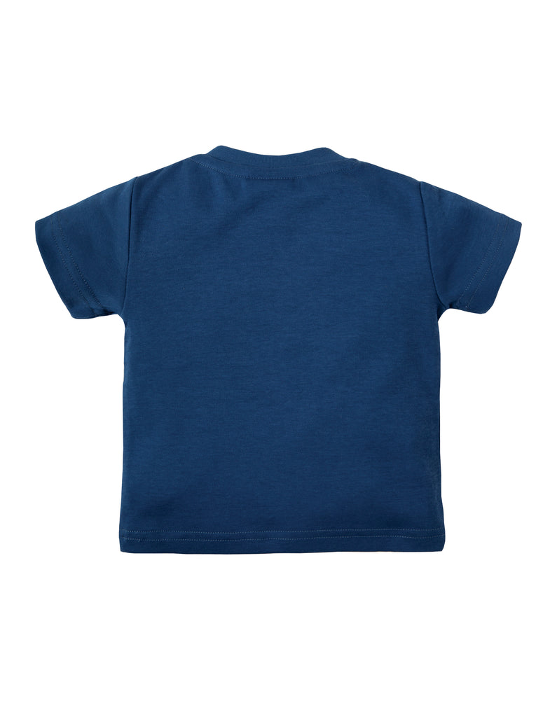 Frugi Little Creature Applique T-shirt - Marine Blue/Puffin