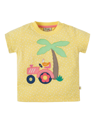 Image of Frugi Little Polkerris Applique T-shirt - Sunshine Spot / Tractor