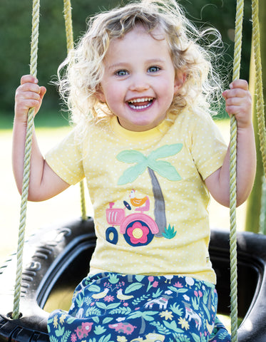 Image of Frugi Little Polkerris Applique T-shirt - Sunshine Spot / Tractor - Tilly & Jasper
