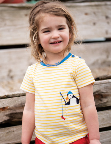 Image of Frugi Penzance Pocket T-shirt - Sun Yellow Breton / Puffin
