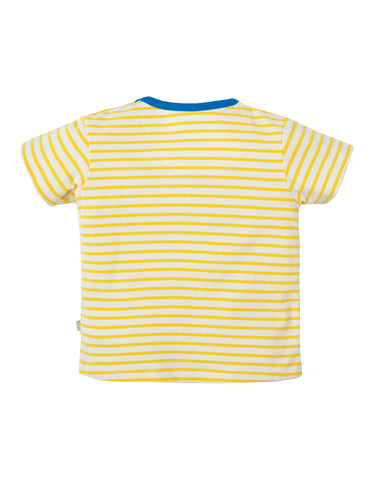 Image of Frugi Penzance Pocket T-shirt - Sun Yellow Breton / Puffin - Tilly & Jasper