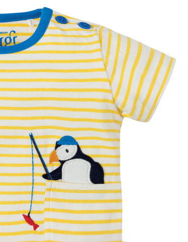 Frugi Penzance Pocket T-shirt - Sun Yellow Breton / Puffin - Tilly & Jasper