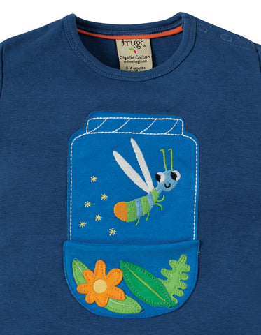Frugi Polzeath Pocket Top - Marine Blue / Firefly