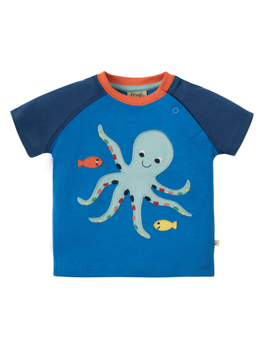 Image of Frugi Renny Raglan T-shirt - Sail Blue / Octopus - Tilly & Jasper