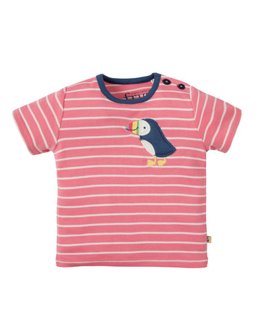 Image of Frugi Wilbur Applique T-shirt - Guava Breton/Puffin - Tilly & Jasper