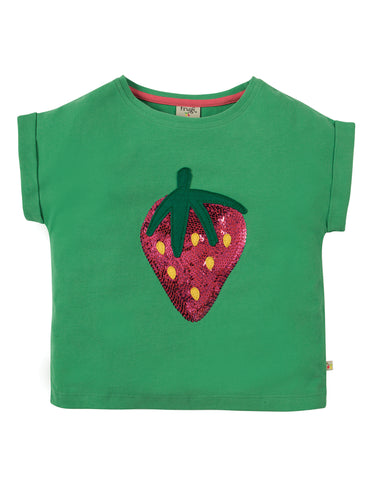 Image of Frugi Bella Sequin T-shirt - Field/Strawberry - Tilly & Jasper