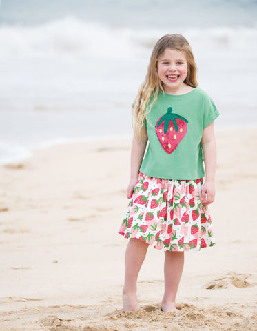 Frugi Bella Sequin T-shirt - Field/Strawberry