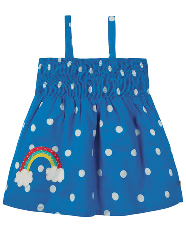 Image of Frugi Dot Summer Top - Sail Blue Polka Dot / Rainbow - Tilly & Jasper