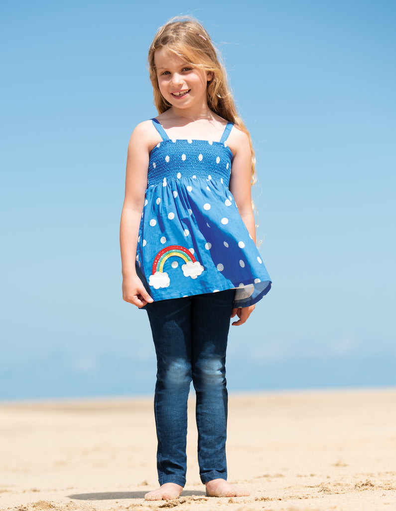 Frugi Dot Summer Top - Sail Blue Polka Dot / Rainbow - Tilly & Jasper