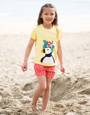 Image of Frugi Evie T-shirt - Sunshine/Puffin - Tilly & Jasper
