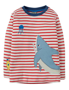 Frugi Joe Applique Top - Tomato Breton/Shark