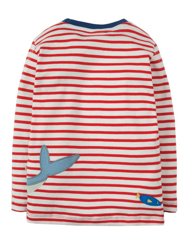 Image of Frugi Joe Applique Top - Tomato Breton/Shark