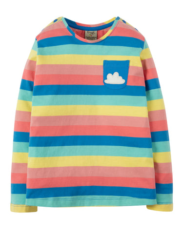 Image of Frugi Louise Stripe Top - Bright Rainbow Stripe/Cloud - Tilly & Jasper