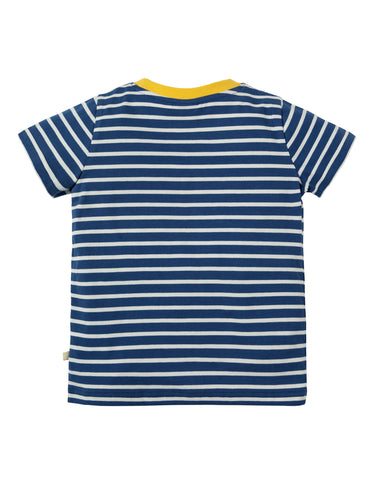 Image of Frugi Sid Applique T-shirt - Marine Blue Breton/Seagulls - Tilly & Jasper