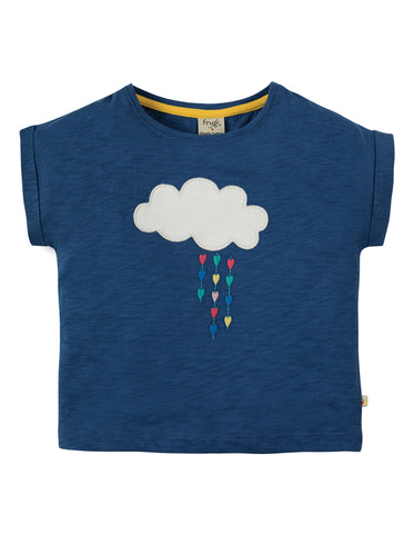 Frugi Sophia Slub T-shirt - Marine Blue/Cloud - Tilly & Jasper