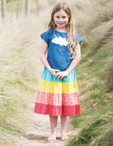 Image of Frugi Sophia Slub T-shirt - Marine Blue/Cloud - Tilly & Jasper