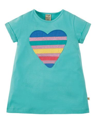 Frugi Sophie Sequin Applique Top - St Agnes / Sequin Heart - Tilly & Jasper