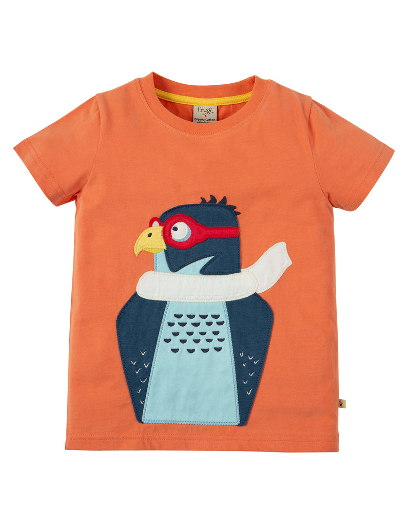 Frugi Stanley Applique T-shirt - Warm Orange/Peregrine Falcon - Tilly & Jasper