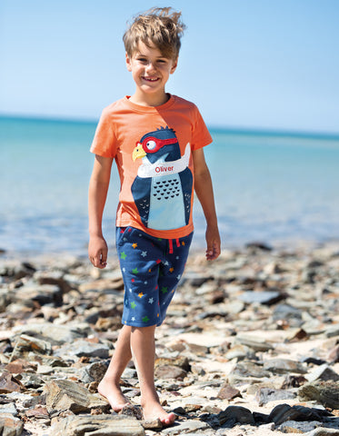 Frugi Stanley Applique T-shirt - Warm Orange/Peregrine Falcon