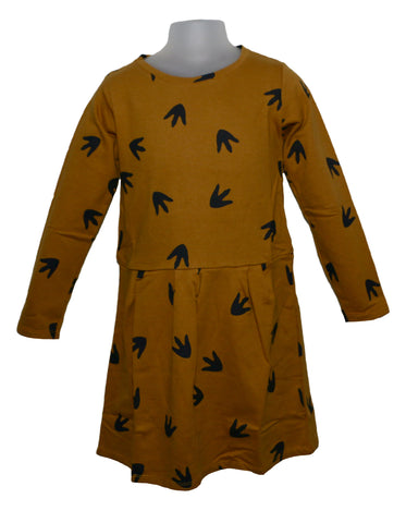 Suindiatic Mustard Footprint Dress