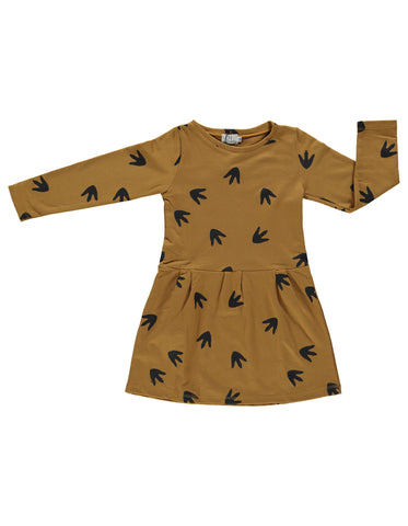Image of Suindiatic Mustard Footprint Dress
