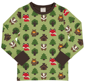 Maxomorra Long Sleeve Top - Green Forest